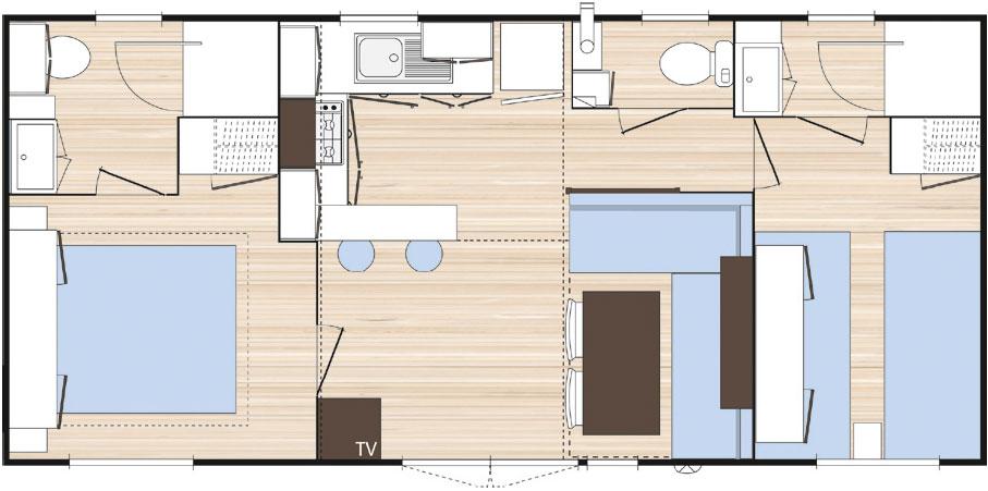 Mobile home premium 2 ch 2 sdb c t montagne - Plan chambre parentale avec salle de bain ...